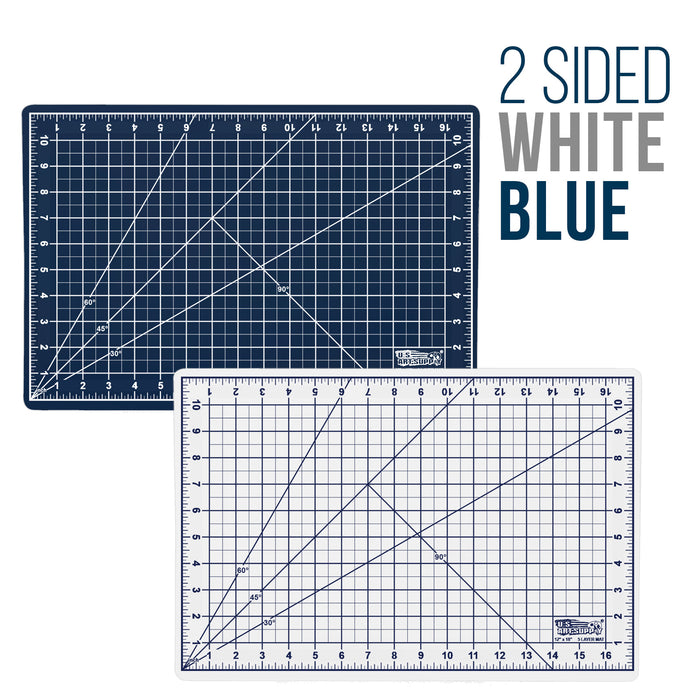 "12"" x 18"" White/Blue Professional Self Healing 5-6 Layer Double Sided Durable Non-Slip PVC Cutting Mat Great for Scrapbooking, Quilting, Sewing and All Arts & Crafts Projects"
