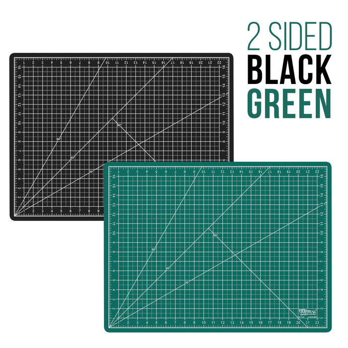 "18"" x 24"" Green/Black Professional Self Healing 5-Ply Double Sided Durable Non-Slip PVC Cutting Mat Great for Scrapbooking, Quilting, Sewing and All Arts & Crafts Projects"