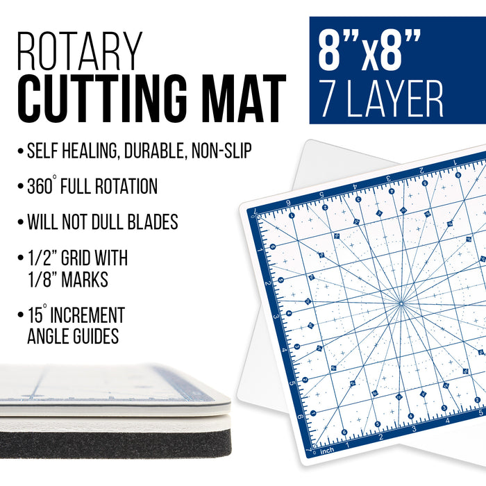 "8"" x 8"" Rotary White/Blue High Contrast Professional Self Healing 7-Layer Durable Non-Slip PVC Cutting Mat Great for Scrapbooking, Quilting, Sewing and all Arts & Crafts Projects"