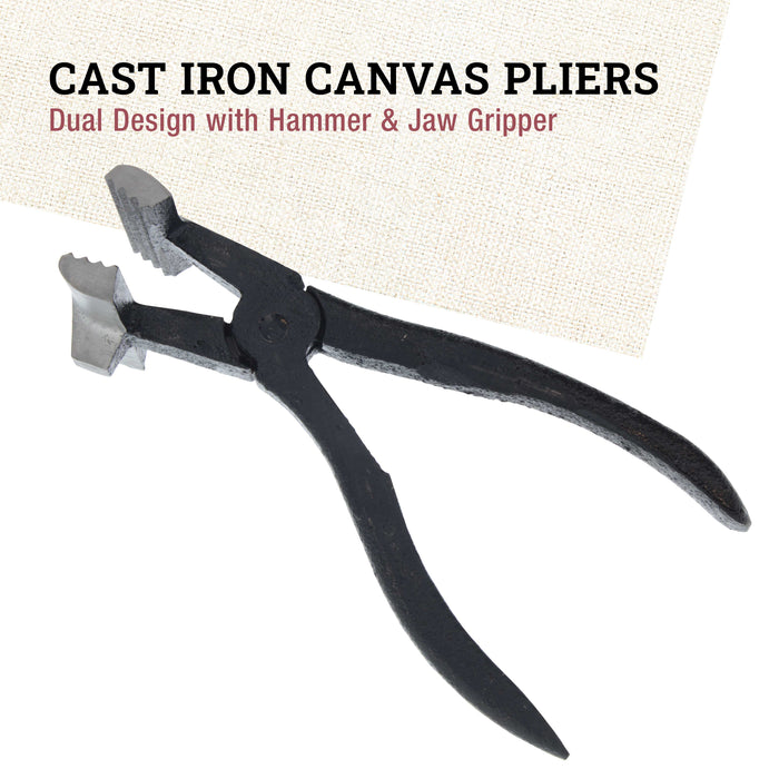 Iron Canvas Pliers, Dual Design with Hammer & Jaw Gripper