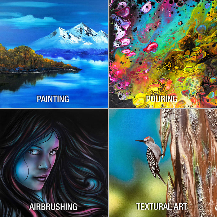 Multi-Pack 6-Ea of 9 x 12, 11 x 14, 12 x 16, 16 x 20 inch. Professional Quality Large Artist Canvas Panel Assortment Pack (24 Total Panels)