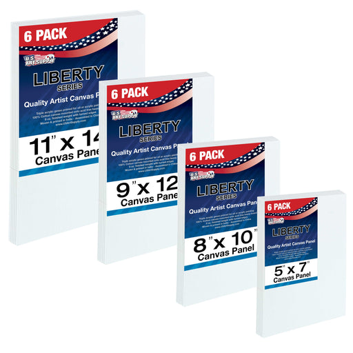 Multi-Pack 6-Ea of 5 x 7, 8 x 10, 9 x 12, 11 x 14 inch. Professional Quality Medium Artist Canvas Panel Assortment Pack (24 Total Panels)