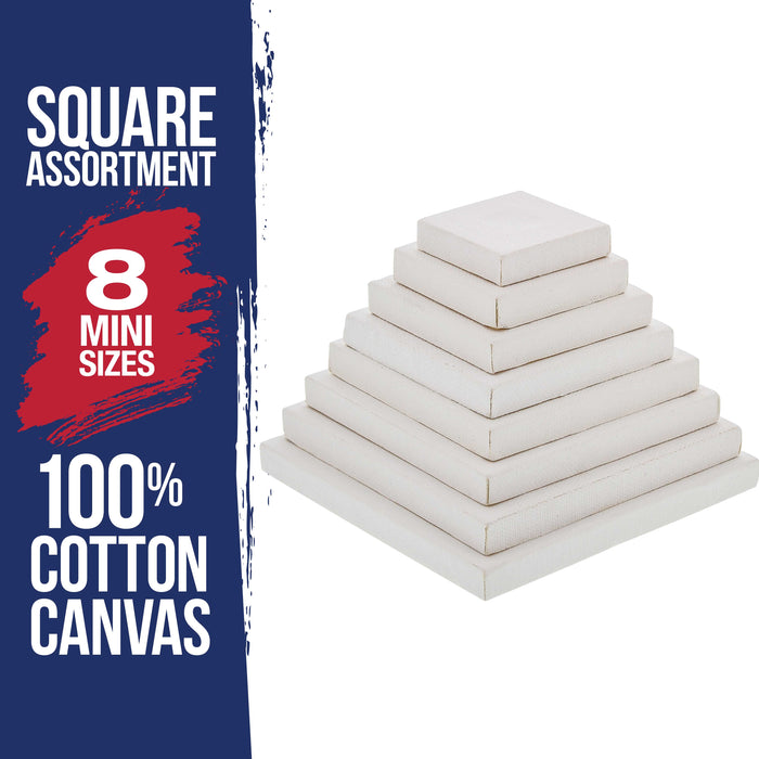 Mini Pyramid of Square Stretched Canvas (8 pack) 1-each of: 1-1/2x1-1/2, 2x2, 2-1/2x2-1/2, 2-3/4x2-3/4, 3-1/4x3-1/4, 3-5/8x3-5/8, 4x4, 4-1/2x4-1/2)