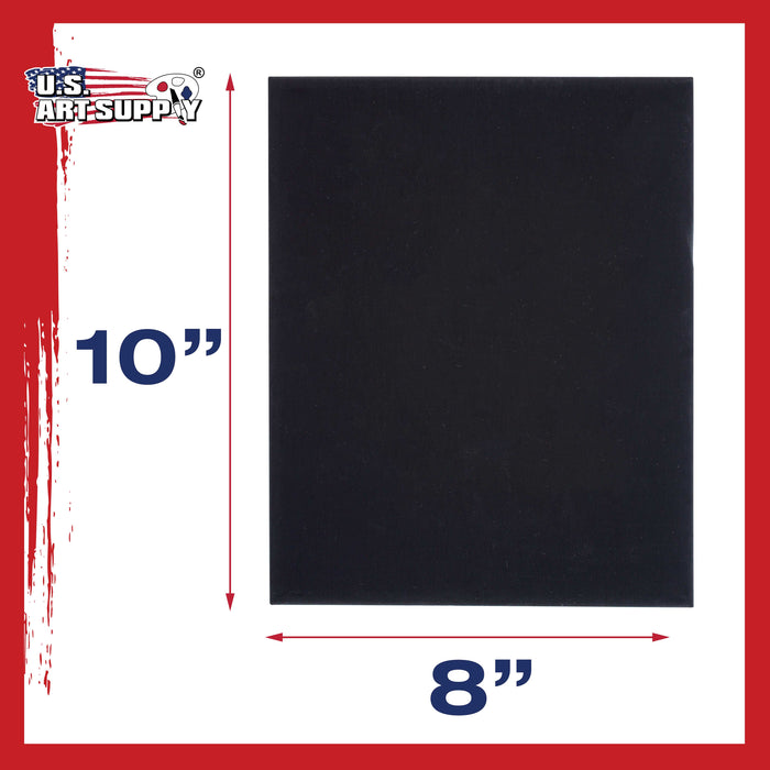 "8"" x 10"" Black Professional Artist Quality Acid Free Canvas Panel Boards for Painting 6-Pack"