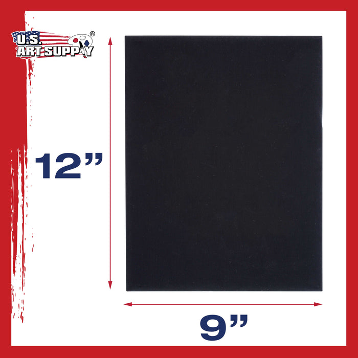 "9"" x 12"" Black Professional Artist Quality Acid Free Canvas Panel Boards for Painting 6-Pack"