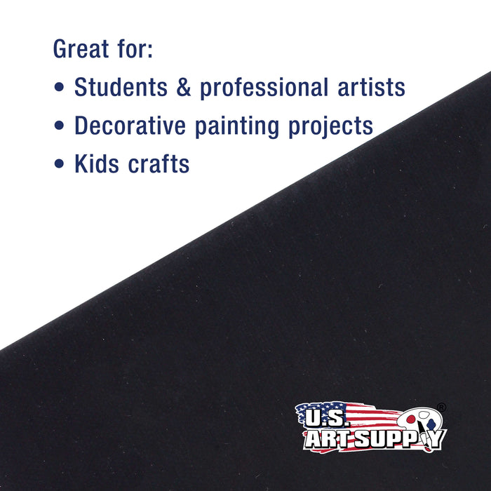 "11"" x 14"" Black Professional Artist Quality Acid Free Canvas Panel Boards for Painting 6-Pack"