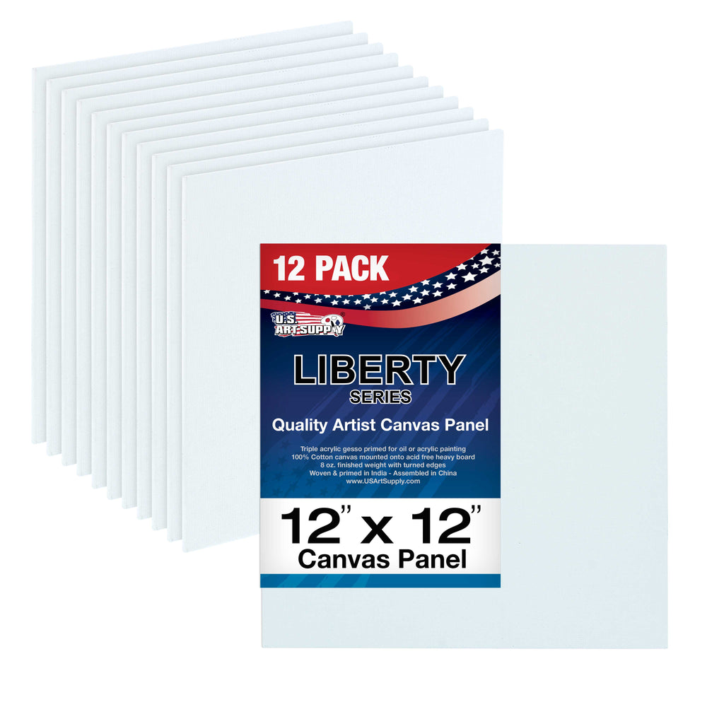 "12"" x 12"" Professional Artist Quality Acid Free Canvas Panel Boards for Painting 12-Pack"