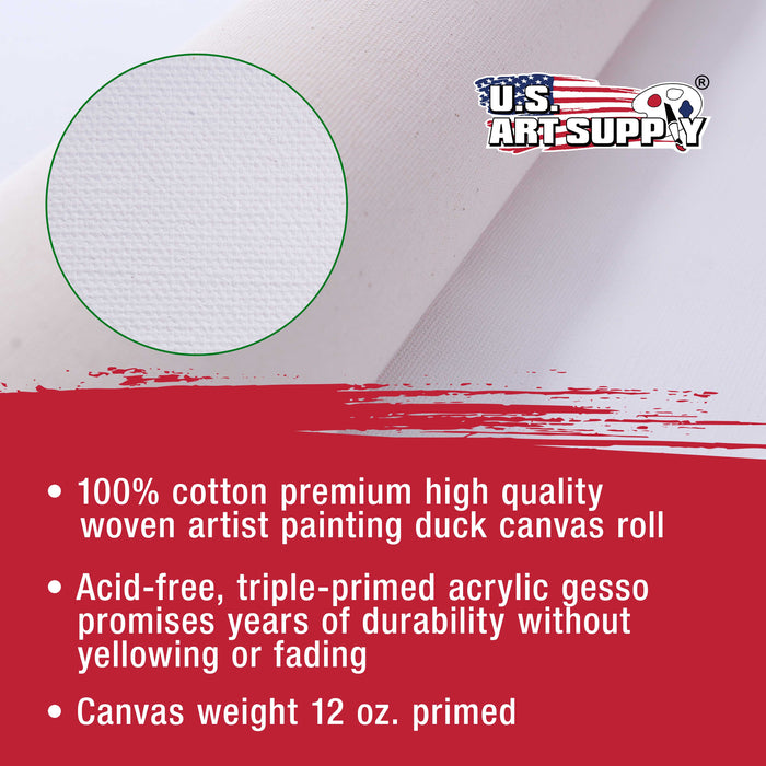 "36"" Wide x 6 Yard Long Canvas Roll - 100% Cotton 12 Ounce Triple Primed Gesso Artist Painting Backdrop"
