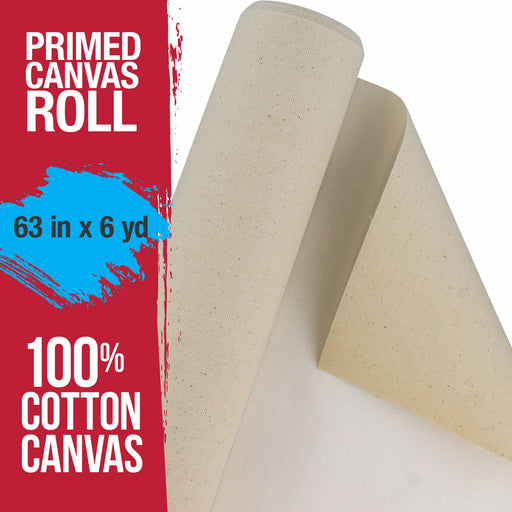 "63"" Wide x 6 Yard Long Canvas Roll - 100% Cotton 12 Ounce Triple Primed Gesso Artist Painting Backdrop"