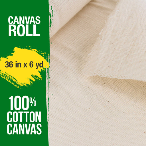 "36"" Wide x 6 Yard Long Canvas Roll - 100% Cotton 7 Ounce Un-Primed Artist Painting"