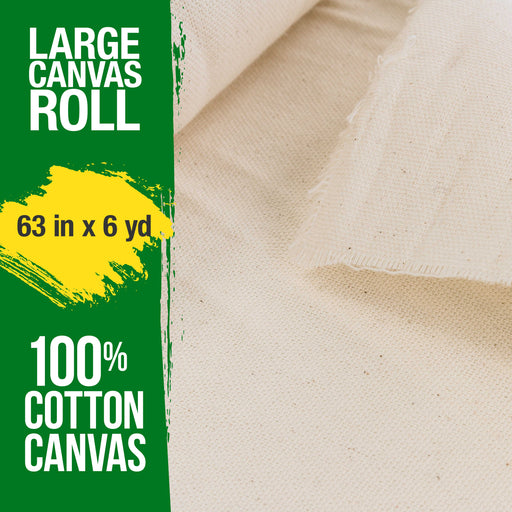 "63"" Wide x 6 Yard Long Canvas Roll - 100% Cotton 7 Ounce Un-Primed Artist Painting"