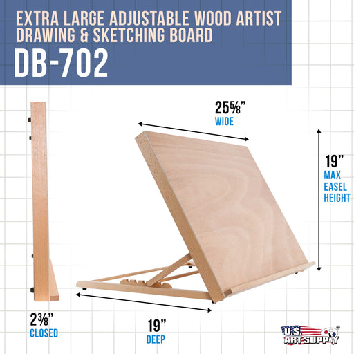 "X-Large 25-5/8"" Wide x 19"" Tall (A2) Artist Adjustable Wood Drawing Sketching Board"