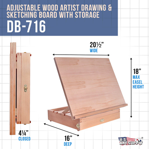 Adjustable Wood Artist Drawing & Sketching Board with Storage Drawer