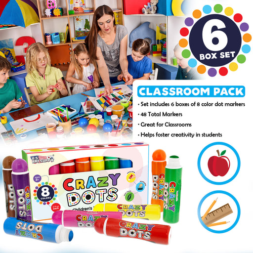 6 Boxes of 8 Color Crazy Dots Markers - Children's Washable Easy Grip Non-Toxic Paint - 48 Total Marker Daubers
