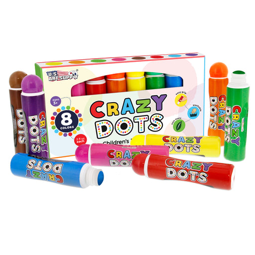8 Color Crazy Dots Markers - Children's Washable Easy Grip Non-Toxic Paint Marker Daubers