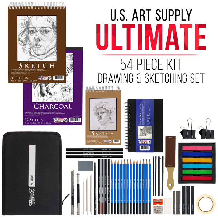 54-Piece Drawing & Sketching Art Set with 4 Sketch Pads - Ultimate Artist Kit, Graphite and Charcoal Pencils & Sticks, Pastels, Case