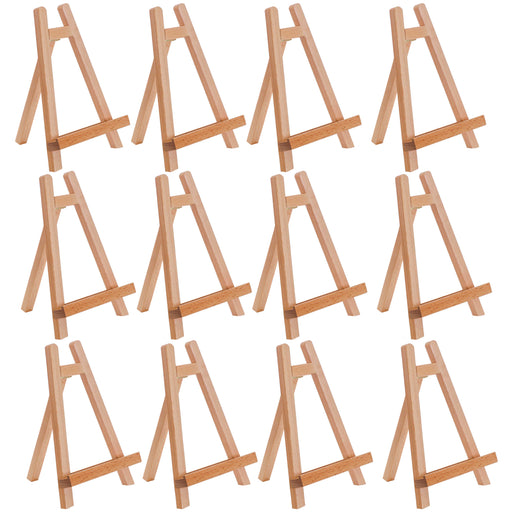 "10.5"" Small Tabletop Display Stand A-Frame Artist Easel (Pack of 12) Beechwood Tripod, Kids Student School Painting Party Table Desktop Easel, Portable Canvas Photo Picture Sign Holder"