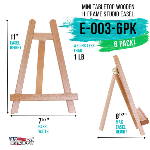 "10.5"" Small Tabletop Display Stand A-Frame Artist Easel (Pack of 6), Beechwood Tripod, Kids Student School Painting Party Table Desktop Easel, Portable Canvas Photo Picture Sign Holder"