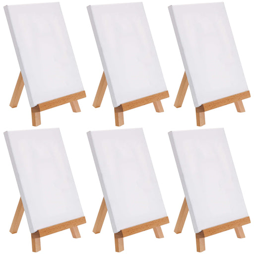 "8"" x 8"" Stretched Canvas with 10.5"" Tabletop Display Stand A-Frame Artist Easel Kit (Pack of 6) - Beechwood Tripod, Kids Students Painting Party - Portable Canvas Picture, Sign Holder"