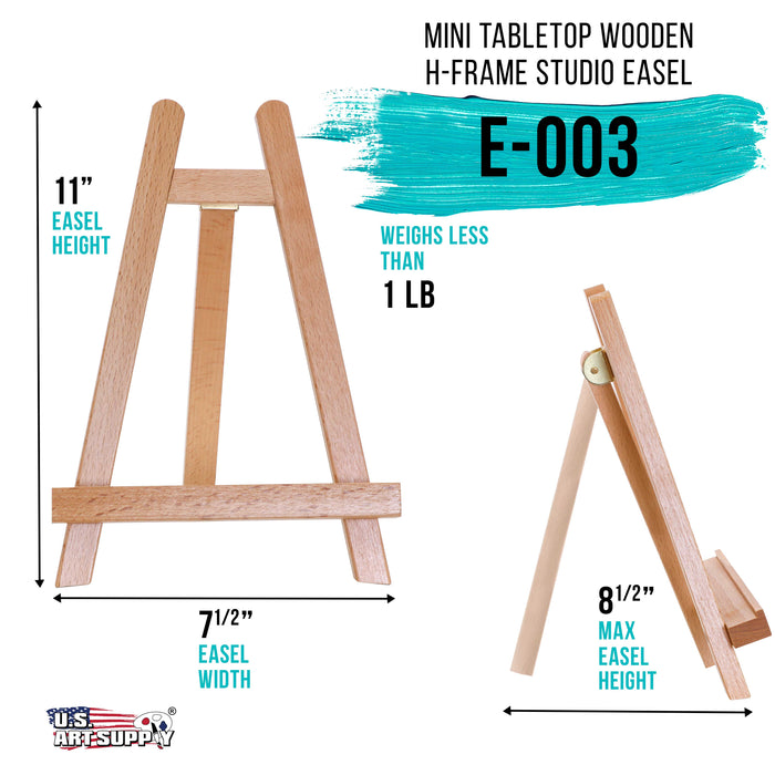 "10.5"" Small Tabletop Display Stand A-Frame Artist Easel - Beechwood Tripod, Kids Student Classroom School Painting Party Table Desktop Easel - Portable Canvas Photo Picture Sign Holder"