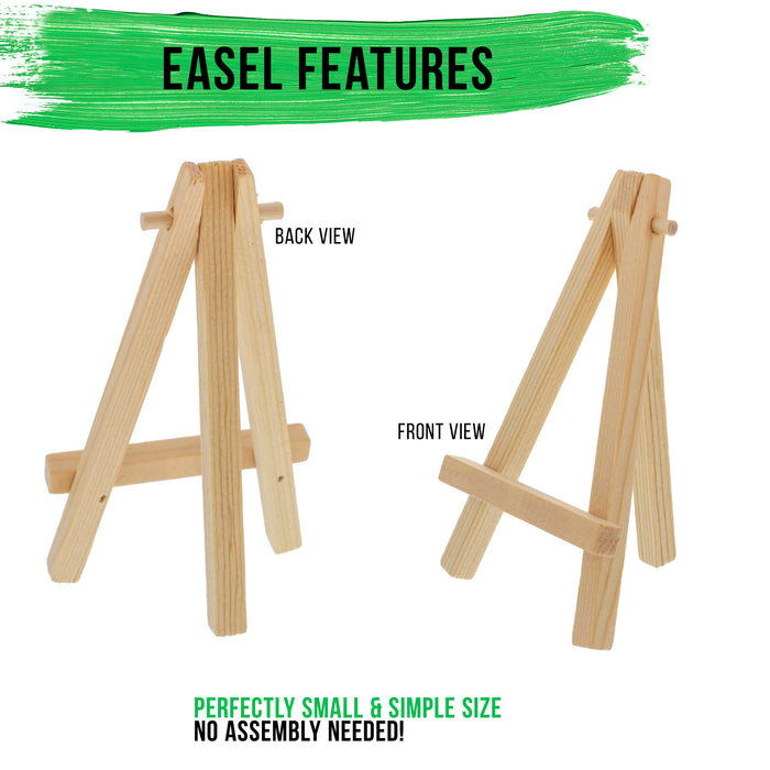 "5"" Mini Natural Wood Display Easel (Pack of 12), A-Frame Artist Painting Party Tripod Easel - Tabletop Holder Stand for Small Canvases, Kids Crafts, Business Cards, Signs, Photos, Gift"