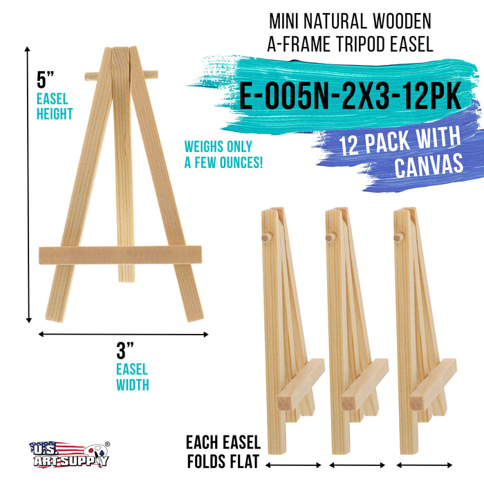 "2"" x 3"" Stretched Canvas with 5"" Mini Natural Wood Display Easel Kit (Pack of 12), Artist Tripod Tabletop Holder Stand - Painting Party, Kids Crafts, Oil Acrylic Paints, Signs, Photos"