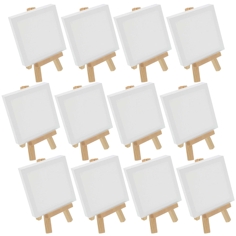 "3"" x 3"" Stretched Canvas with 5"" Mini Natural Wood Display Easel Kit (Pack of 12), Artist Tripod Tabletop Holder Stand - Painting Party, Kids Crafts, Oil Acrylic Paints, Signs, Photos"