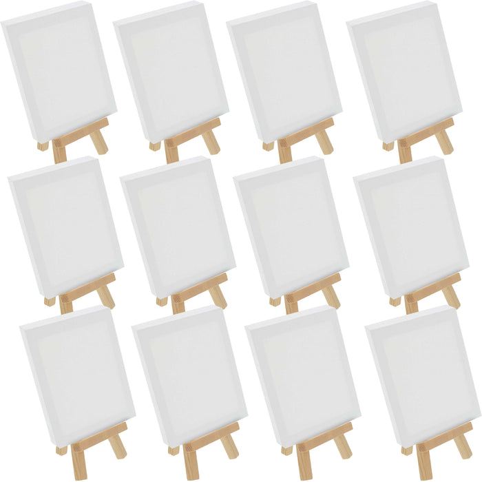 "3"" x 4"" Stretched Canvas with 5"" Mini Natural Wood Display Easel Kit (Pack of 12), Artist Tripod Tabletop Holder Stand - Painting Party, Kids Crafts, Oil Acrylic Paints, Signs, Photos"