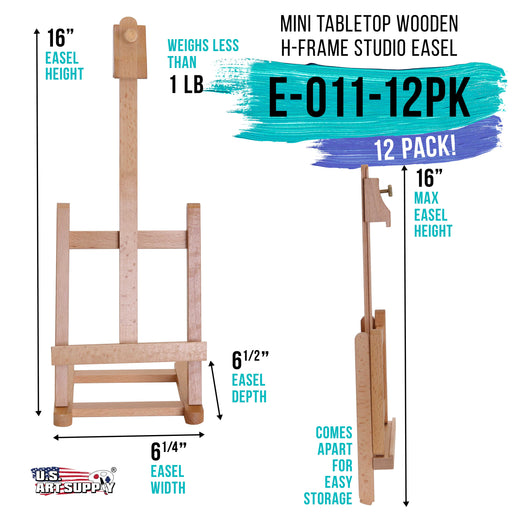 "16"" Mini Tabletop Wooden H-Frame Studio Easel (Pack of 12) - Artists Adjustable Beechwood Painting and Display Easel, Holds Up To 12"" Canvas - Portable Table Desktop Holder Stand"