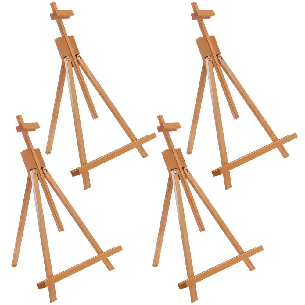 "Topanga 31"" High Tabletop Wood Folding A-Frame Artist Studio Easel (Pack of 4) - Adjustable Beechwood Tripod Display Stand, Holds Up To 27"" Canvas - Portable Table Desktop Holder"