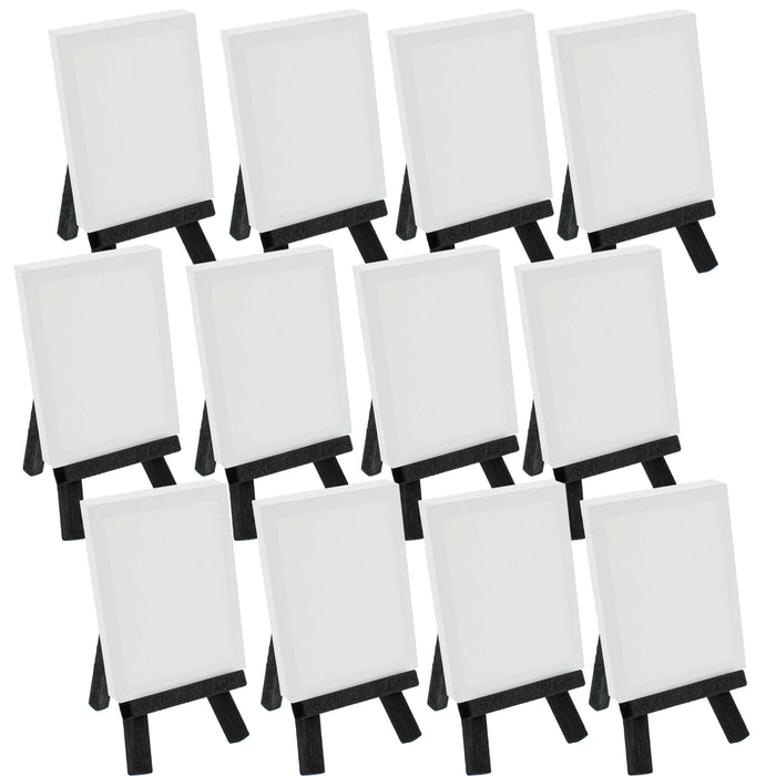 "2"" x 3"" Stretched Canvas with 5"" Mini Black Wood Display Easel Kit (Pack of 12), Artist Tripod Tabletop Holder Stand - Painting Party, Kids Crafts, Oil Acrylic Paints, Signs, Photos"