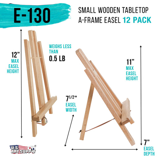 "11"" Small Tabletop Display Stand A-Frame Artist Easel (Pack of 12), Beechwood Tripod, Painting Party Easel, Kids Student Table School Desktop, Portable Canvas Photo Picture Sign Holder"