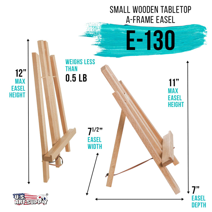"11"" Small Tabletop Display Stand A-Frame Artist Easel - Beechwood Tripod, Painting Party Easel, Kids Students Classroom Table School Desktop - Portable Canvas Photo Picture Sign Holder"