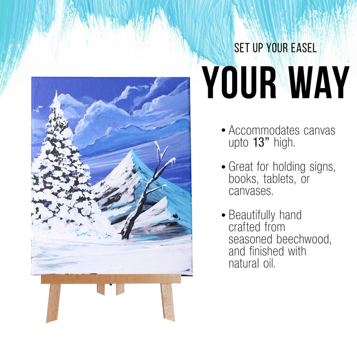 "14"" Medium Tabletop Display Stand A-Frame Artist Easel (Pack of 12), Beechwood Tripod, Painting Party Easel Kids Student Table School Desktop, Portable Canvas Photo Picture Sign Holder"