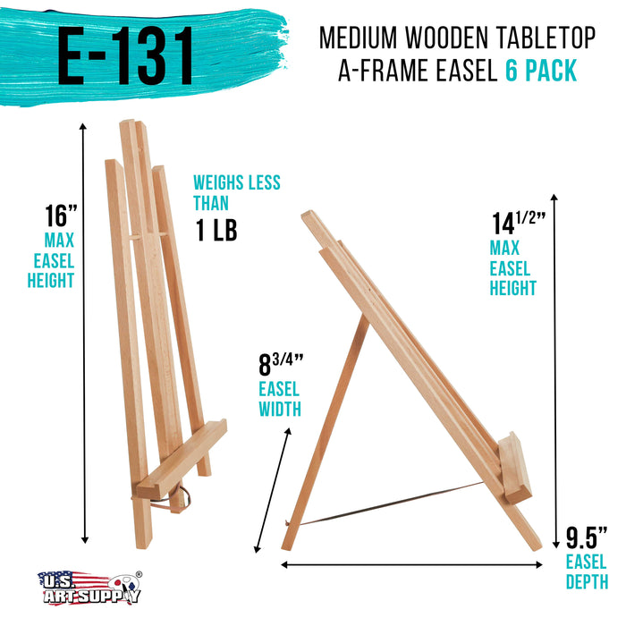 "14"" Medium Tabletop Display Stand A-Frame Artist Easel (Pack of 6), Beechwood Tripod, Painting Party Easel, Kids Student Table School Desktop, Portable Canvas Photo Picture Sign Holder"