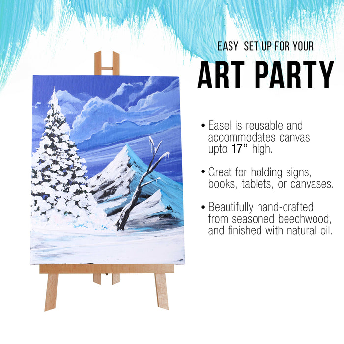 "11"" x 14"" Stretched Canvas with 18"" Tabletop Display Stand A-Frame Artist Easel Kit (Pack of 6) - Beechwood Tripod, Kids Student Painting Party, Portable Canvas Picture, Sign Holder"