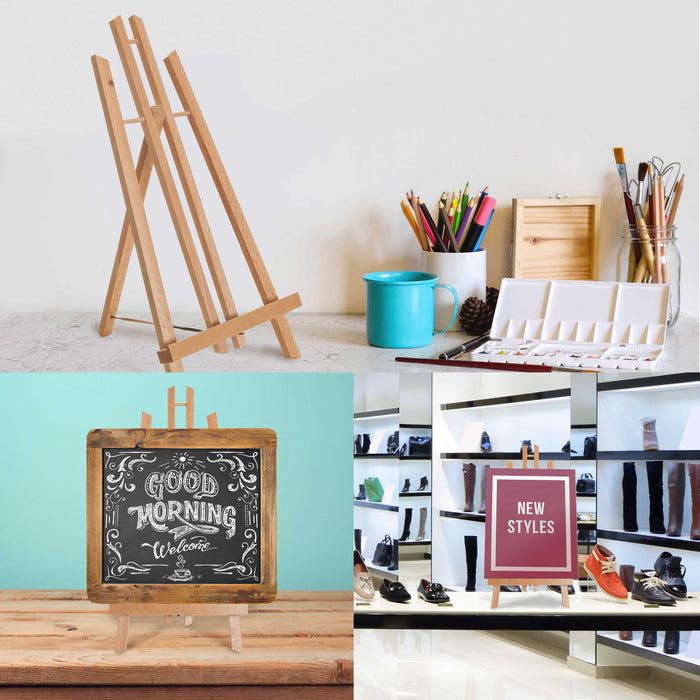 "18"" Large Tabletop Display Stand A-Frame Artist Easel (Pack of 6) - Beechwood Tripod, Painting Party Easel, Kids Student Table School Desktop, Portable Canvas Photo Picture Sign Holder"