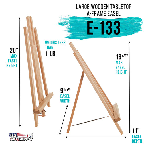 "18"" Large Tabletop Display Stand A-Frame Artist Easel (Pack of 12), Beechwood Tripod, Painting Party Easel, Kids Student Table School Desktop, Portable Canvas Photo Picture Sign Holder"