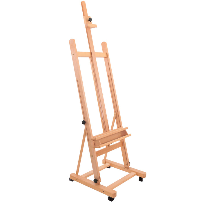 "U.S. Art Supply Medium Wooden H-Frame Studio Easel with Artist Storage Tray and Wheels - Mast Adjustable to 96"" High, Holds Canvas to 48 "" - Sturdy Beechwood Holder Floor Stand - Display Paintings"