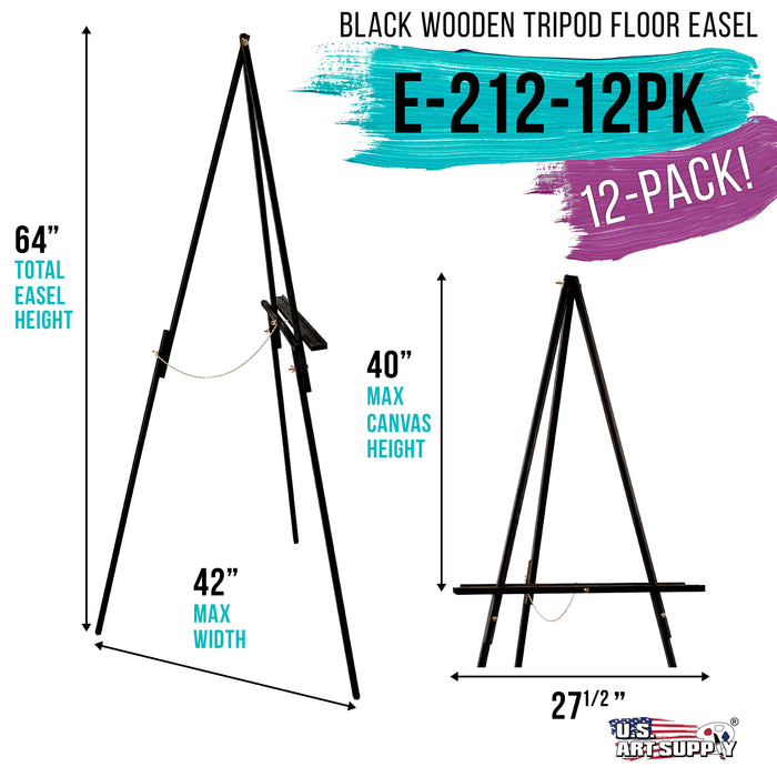 "64"" High Black Torrey Wooden A-Frame Tripod Studio Artist Floor Easel (Pack of 12) - Adjustable Tray Height, Holds 40"" Canvas, Wood Display Holder Stand for Painting Party Class, Photo"