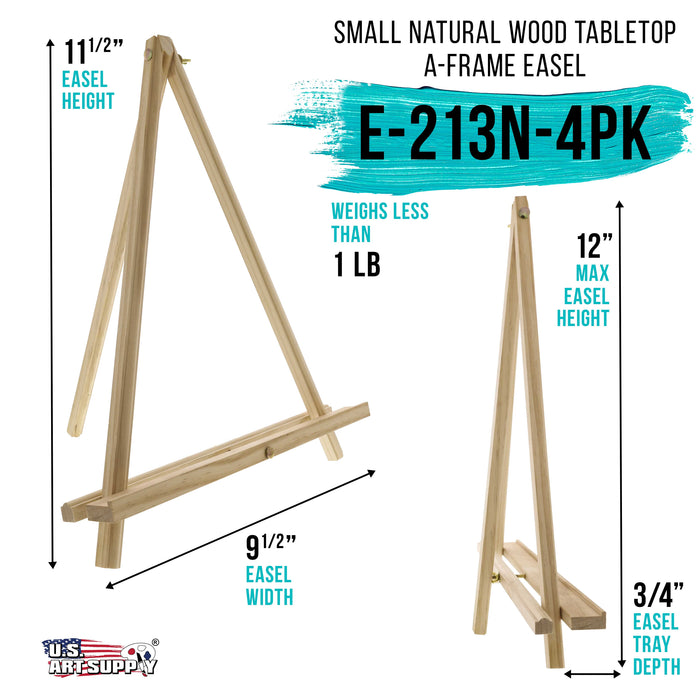 "12"" High Natural Wood Display Stand A-Frame Artist Easel (Pack of 4) - Adjustable Wooden Tripod Tabletop Holder Stand for Canvas, Painting Party, Kids Crafts, Photos, Pictures, Signs"