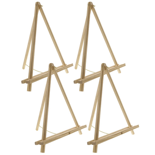 "16"" High Natural Wood Display Stand A-Frame Artist Easel (Pack of 4) - Adjustable Wooden Tripod Tabletop Holder Stand for Canvas, Painting Party, Kids Crafts, Photos, Pictures, Signs"
