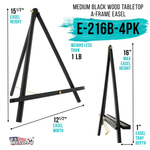 "16"" High Black Wood Display Stand A-Frame Artist Easel (Pack of 4) - Adjustable Wooden Tripod Tabletop Holder Stand for Canvas, Painting Party, Kids Crafts, Photos, Pictures, Signs"