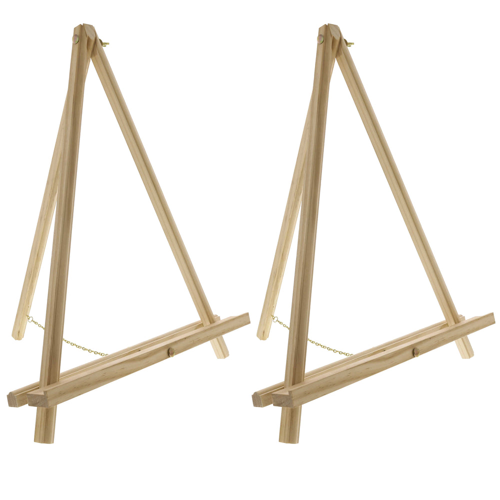 "20"" Large Natural Wood Display Stand A-Frame Artist Easel (Pack of 2) - Adjustable Wooden Tripod Tabletop Holder Stand for Canvas, Painting Party, Kids Crafts, Photos, Pictures, Signs"