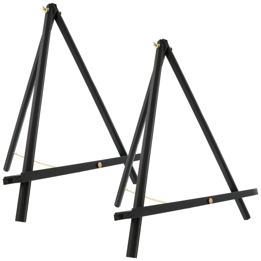 "20"" Large Black Wood Display Stand A-Frame Artist Easel (Pack of 2) - Adjustable Wooden Tripod Tabletop Holder Stand for Canvas, Painting Party, Kids Crafts, Photos, Pictures, Signs"