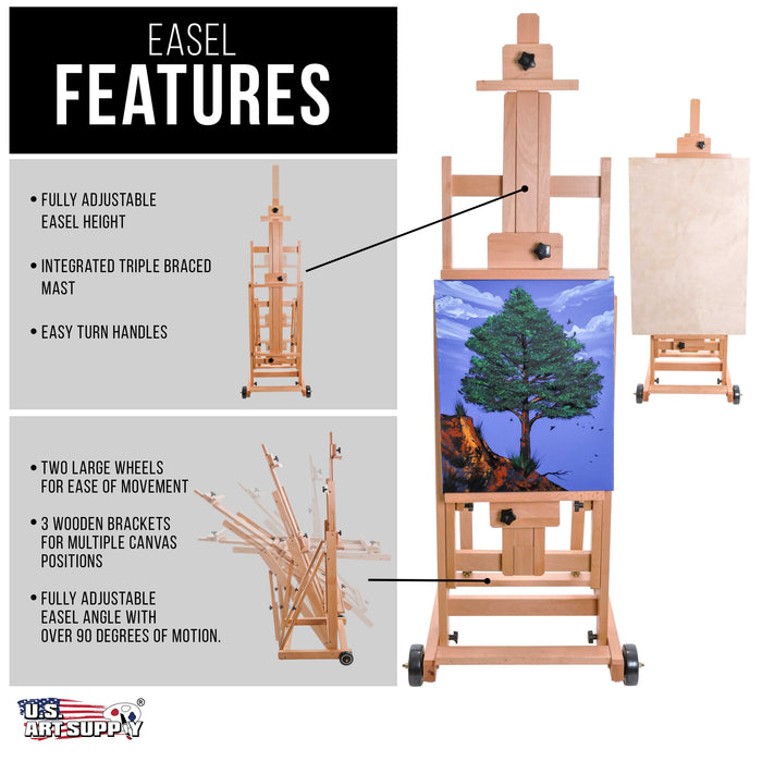 "Master Multi-Function Studio Artist Wooden Floor Easel - Large Adjustable H-Frame, Tilts Flat, Mast Adjusts to 97"" High - Sturdy Beechwood Painting Canvas Holder Stand with Wheels"