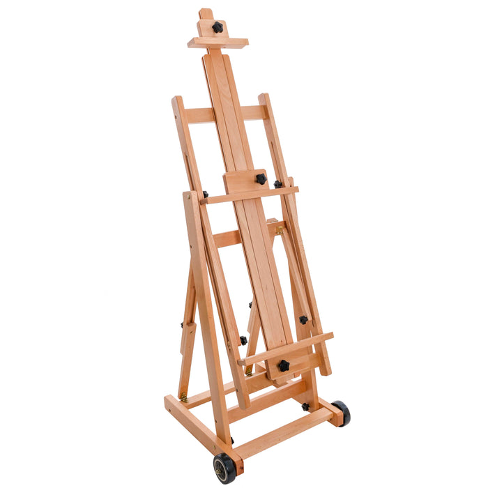 Adjustable Wood H-Frame Painting Floor Easel With Tray