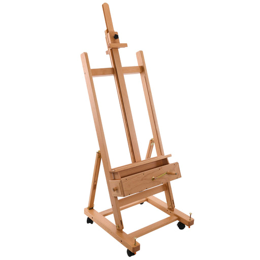 "Rocker Crank Wooden Adjustable Studio Easel - Extra Large Heavy Duty H-Frame, Mast to 132"", Canvas to 81"", Artist Storage Tray, Drawers - Beechwood Painting Holder Floor Stand, Wheels"