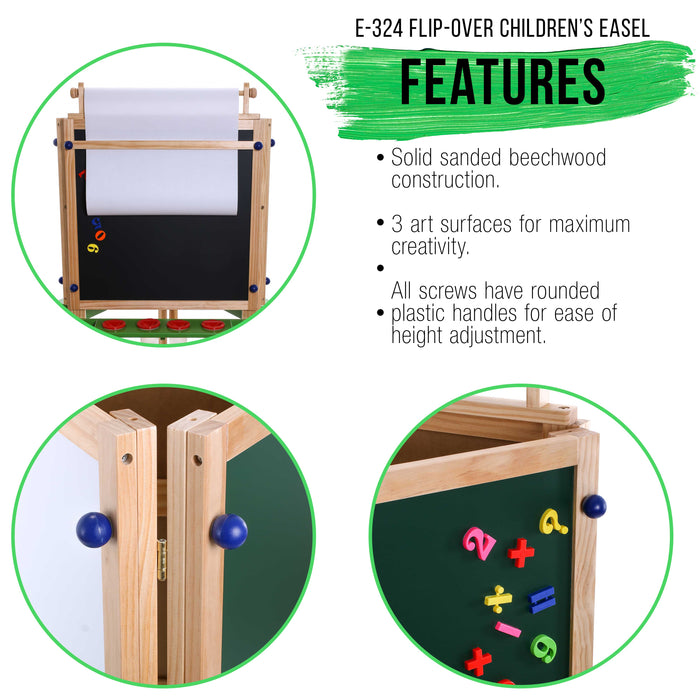 Children's 3-Sided Art Activity Easel with 3 Magnetic Stations, Chalkboard, Blackboard, Dry Erase White Board, Paper Roll, Paint Cups Shelf - Kids Learn to Paint, Draw, Write, Have Fun