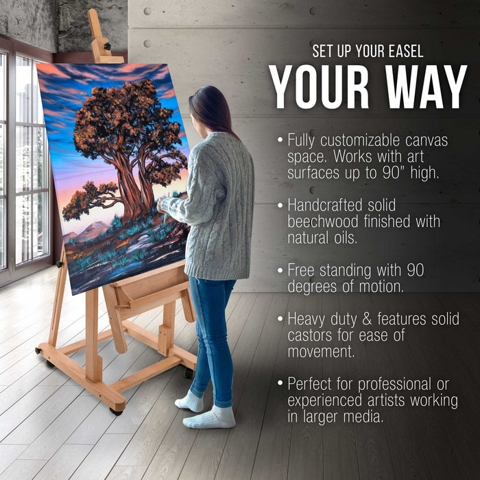 Malibu Heavy Duty Extra Large Adjustable H-Frame Studio Easel with Artist Storage Tray - Tilts Flat, Sturdy Wooden Beech Wood Painting Canvas Holder Stand - Locking Caster Wheels